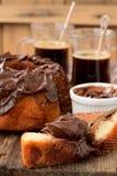 Marble cake with chocolate cream Stock Photo