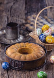 Marble cake.Easter Cake.Marble cake cup of coffee powder sugar kitchen vintage utensil and easter eggs Royalty Free Stock Photos