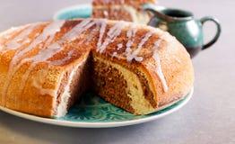 Marble cake with lemon icing Royalty Free Stock Photo