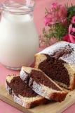 Marble cake and milk Stock Photo