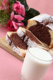 Marble cake and milk Stock Image