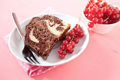 Marble cake on plate Royalty Free Stock Image