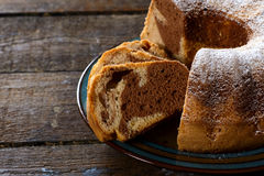 Marble cake in plate Royalty Free Stock Images