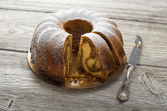 Marble cake. Slices of marble cake sprinkled with sugar Royalty Free Stock Photography