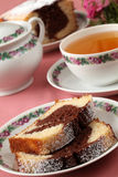 Marble cake and tea Stock Image