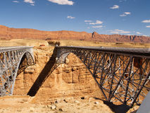 Marble Canyon bridges. Bridges at Marble Canyon, old (pedestrian now) at left, new at right royalty free stock photo