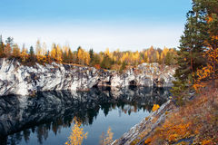 Marble canyon Ruskeala Royalty Free Stock Photography