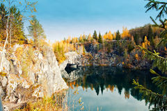 Marble canyon Ruskeala Royalty Free Stock Image