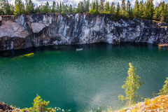 Marble canyon. Ruskeala in Russia. the Republic of Karelia Stock Photos