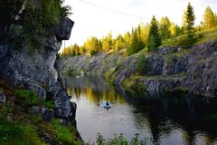 The marble canyon. In Sortavala, Karelia, Russia Royalty Free Stock Photo