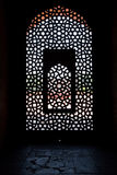 Marble carved screen window at Humayun's Tomb. Delhi, India Royalty Free Stock Images