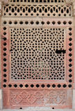 Marble carved window at Isa Khan Tomb Royalty Free Stock Photos