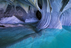 The marble cathedral chapel, Capillas De Marmol, Puerto Tranquilo, Chile. The marble cathedral chapel, Capillas De Marmol, along Carretera Austral, lake General royalty free stock photo