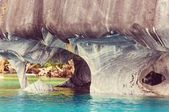 Marble caves. Unusual marble caves on the lake of General Carrera, Patagonia, Chile. Carretera Austral trip royalty free stock photo