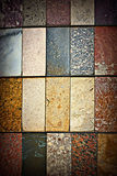 Marble and ceramic tiles. A set of ceramic and stone tiles with various patterns and textures Royalty Free Stock Photography