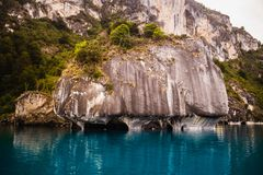 The Marble Chapels in the General Carrera Lake on the southern highway of Chile. Marble cathedral stock image