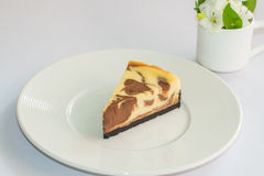 Marble cheesecake on plate Stock Image