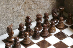 Marble chess set Stock Photo