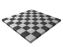 Marble chessboard (corner view). A perspective view of a marble chessboard. Isolated on white background Stock Photo