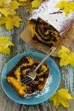 Marble chocolate pumpkin cake Stock Photo
