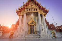 The Marble church of Buddhism in Wat Benchamabopit Dusitvanaram Temple Stock Photo