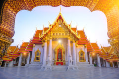 The Marble church of Buddhism in Wat Benchamabopit Dusitvanaram Temple in Bangkok,Thailand Royalty Free Stock Images