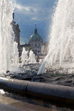 Marble church Copenhagen Denmark Amalienborg fountain Royalty Free Stock Photography