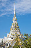 Marble church/temple Wat Sothorn, landmark in Chachoengsao with sky background. Stock Photo