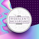 Marble Circle with Iridescent Holographic Background. Marble circle label design with iridescent holographic textures and patterns in the background. Vector Stock Photography