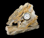 Marble Clock. With black background Stock Image