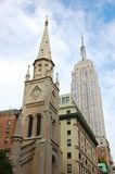 Marble Collegiate Church and Empire State Building Royalty Free Stock Photography