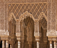 Marble collonade in Alhambra Stock Photos