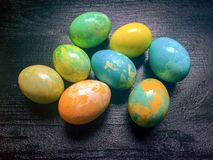 Marble coloring eggs Royalty Free Stock Photography