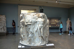 Marble column drum carved in high relief, from the second Temple of Artemis at Ephesus Stock Images