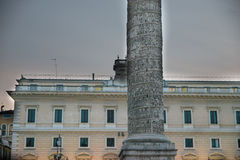 Marble Column of Marcus Aurelius in Piazza Colonna square in Rome Stock Photography