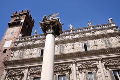 Marble column with the winged lion of San Marco Stock Image