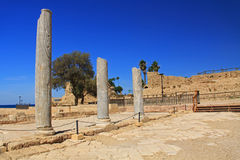 Marble Columns in Caesarea Maritima National Park Royalty Free Stock Image