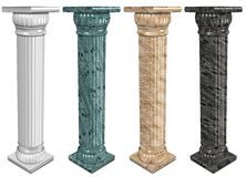 Marble columns. 3d illustration of a set of marble columns stock illustration