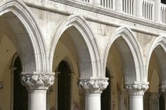 Marble columns at doge palace in Venice Royalty Free Stock Photography