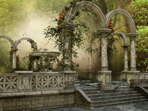 Marble columns with flowers Stock Images