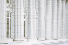 Marble Columns. Fluted marble columns architectural detail on the Missouri State Capitol building in Jefferson City, Missouri Stock Photo