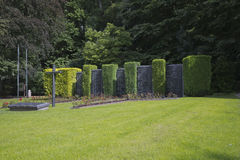 Marble columns in memory of the civilian victims in Malmedy. In the Ardennes in Belgium Stock Photos