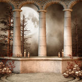 Marble columns with skulls Royalty Free Stock Image