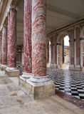 Marble columns in the Trianon at Versailles Palace stock image