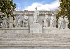 Marble complex of statues with central figure Lajos Kossuth, standing among fellow politicians, Kossuth Square, Budapest, Hungary. Pictured is a marble complex royalty free stock photos