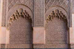 The marble craft of building at Medersa Ben Youssef in Marakesh Royalty Free Stock Images