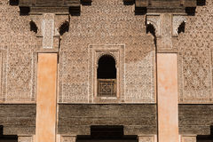 The marble craft of building at Medersa Ben Youssef in Marakesh Stock Images