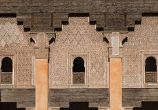 The marble craft of building at Medersa Ben Youssef in Marakesh Royalty Free Stock Photography