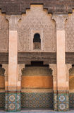 The marble craft of building at Medersa Ben Youssef in Marakesh Stock Photos