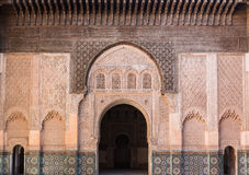 The marble craft of building at Medersa Ben Youssef in Marakesh Royalty Free Stock Photos
